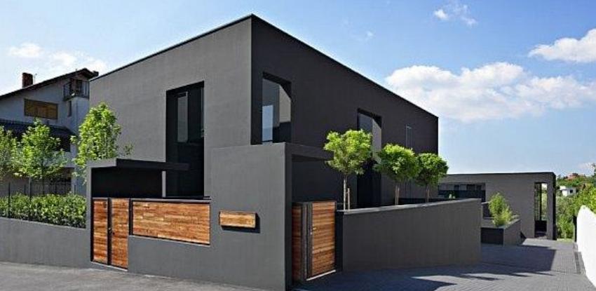 fachada de casa negra