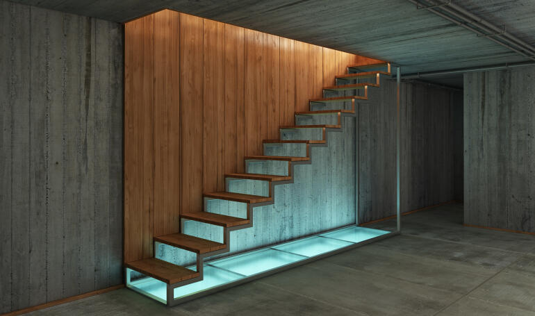 sótano rústico con escaleras modernas