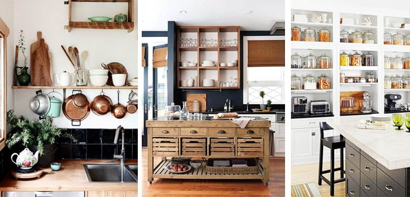 cocinas con estanterías abiertas